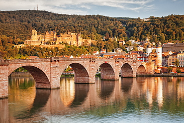 Old town with Karl-Theodor-Bridge (Old Bridge) and Castle, Neckar River, Heidelberg, Baden-Wurttemberg, Germany, Europe