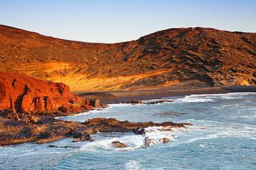 Charco de los Clicos lake at sunset, bay of El Golfo, Lanzarote, Canary Islands, Spain, Atlantic, Europe