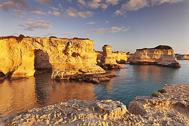 Rocky columns, natural monument, rocky coast at sunrise , Sant'Andrea, Adriatic Sea, Lecce province, Salentine Peninsula, Puglia, Italy, Mediterranean, Europe