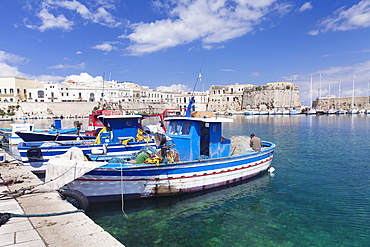 Fishing boats at the port, old town with castle, Gallipoli, Lecce province, Salentine Peninsula, Puglia, Italy, Mediterranean, Europe