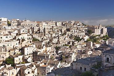 View over Sasso Barisano to Monasterio di Sant'Agostino monastery, UNESCO World Heritage Site, Matera, Basilicata, Puglia, Italy, Europe