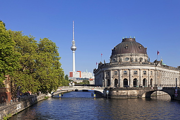 Bode Museum, Museum Island, UNESCO World Heritage Site, Spree River, TV Tower, Mitte, Berlin, Germany, Europe