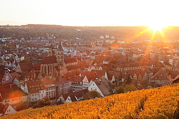 View from the castle over Esslingen at sunset, Esslingen, Baden-Wurttemberg, Germany, Europe