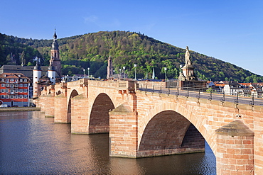 Old town with Karl-Theodor-Bridge (Old Bridge), Gate and Heilig Geist Church, Heidelberg, Baden-Wurttemberg, Germany, Europe