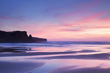 Praia da Borderia beach at sunset, Carrapateira, Costa Vicentina, west coast, Algarve, Portugal, Europe
