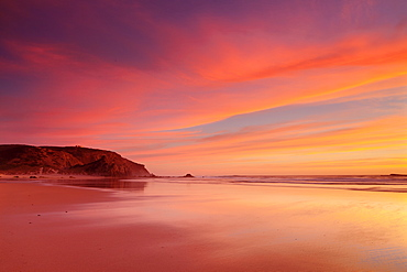 Praia do Amado beach at sunset, Carrapateira, Costa Vicentina, west coast, Algarve, Portugal, Europe