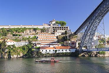 Rabelos boat on Douro River, Serra do Pilar Monstery, Ponte Dom Luis I Bridge, UNESCO World Heritage Site, Porto (Oporto), Portugal, Europe