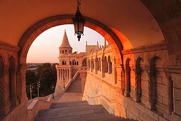 Fisherman's Bastion at sunrise, Buda Castle Hill, Budapest, Hungary, Europe