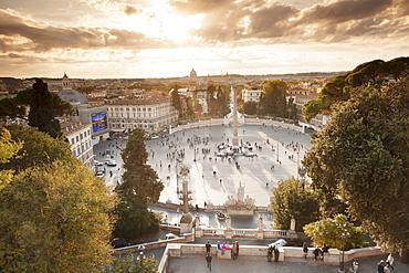 Piazza del Popolo Square at sunset, Obelisco Falminio obelisk, Rome, Lazio, Italy, Europe