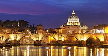 View over Tiber River to Ponte Vittorio Emanuele II Bridge and St. Peter's Basilica, Rome, Lazio, Italy, Europe