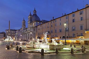 Fontana dei Quattro Fiumi Fountain, Fontana del Moro Fountain, Sant'Agnese in Agone Church, Piazza Navona, Rome, Lazio, Italy, Europe