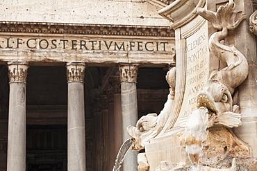 Fontana del Pantheon Fountain at Piazza della Rotonda Square, Pantheon, UNESCO World Heritage Site, Rome, Lazio, Italy, Europe