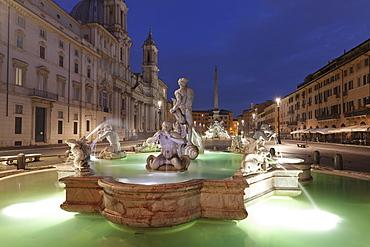 Fontana del Moro Fountain, Fontana dei Quattro Fiumi Fountain, Sant'Agnese in Agone Church, Piazza Navona, Rome, Lazio, Italy, Europe