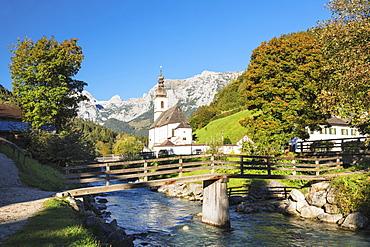 Parish Church, Reiteralpe Mountain, Ramsauer Ache River, Ramsau, Berchtesgadener Land, Upper Bavaria, Bavaria, Germany, Europe