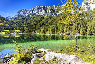 Hintersee Lake, Reiteralpe Mountain, Ramsau, Berchtesgadener Land, Berchtesgaden National Park, Upper Bavaria, Bavaria, Germany, Europe