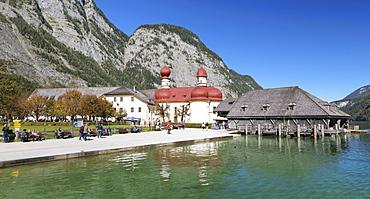 St. Bartholomew's church, Lake Koenigssee, Berchtesgadener Land, Berchtesgaden National Park, Upper Bavaria, Bavaria, Germany, Europe