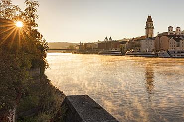 Danube river at sunrise in Passau, Germany, Europe