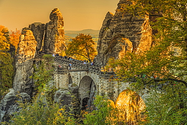Bastei Bridge at sunset in Elbe Sandstone Mountains, Germany, Europe