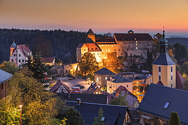Hohnstein Castle at sunset in Saxony, Germany, Europe