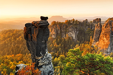 View from Wehlnadel rocks to Bastei Bridge in Elbe Sandstone Mountains, Germany, Europe