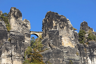 Bastei Bridge in Elbe Sandstone Mountains, Germany, Europe