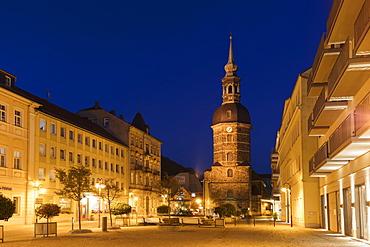 Kirchengemeinde St. Johannis at night in Bad Schandau, Germany, Europe