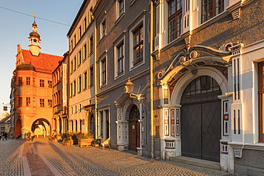 Bruderstrasse with Silesian Museum, Goerlitz, Saxony, Germany, Europe