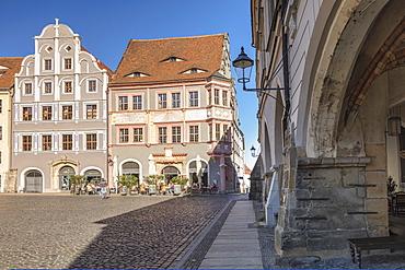 Street cafe at Untermarkt Square, Goerlitz, Saxony, Germany, Europe