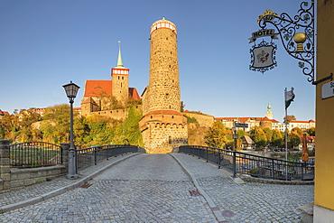 Old Waterworks (alte Wasserkunst) and St. Michael Church, Bautzen, Upper Lusatia, Saxony, Germany, Europe