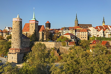 Old Waterworks (alte Wasserkunst), St. Michael Church, Petridom (St. Peters Cathedral) and Townhall Tower, Bautzen, Saxony, Germany, Europe