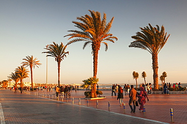 Promenade at the beach of Agadir at sunset, Southern Morocco, Morocco, North Africa, Africa