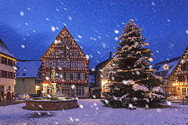 Townhall and half-timbered house, marketplace, Dornstetten, Black Forest, Baden-Wurttemberg, Germany, Europe