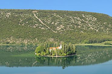 Visovac Monastery on Visovac Island, Krka National Park, Dalmatia, Croatia, Europe