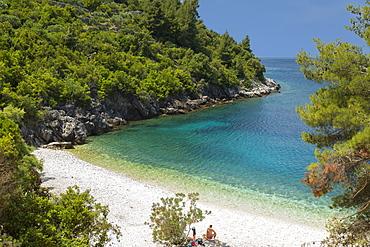 Vaja Beach, near Racisce, Island of Korcula, Adriatic Sea, Island of Korcula, Dalmatia, Croatia, Europe