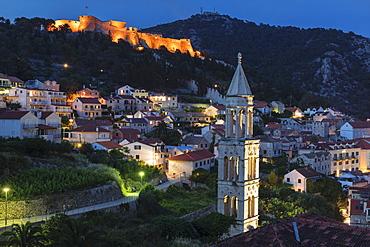 Sveti Marko Church and Spanish Fortress, Hvar, Hvar Island, Dalmatia, Croatia, Europe