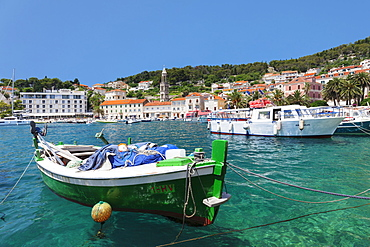 Fishing boats at the port, Hvar, Hvar Island, Dalmatia, Croatia, Europe