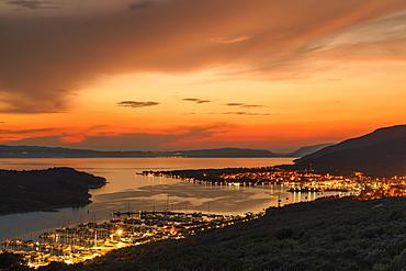 View over marina and Cres Town, Cres Island, Kvarner Gulf, Croatia, Europe