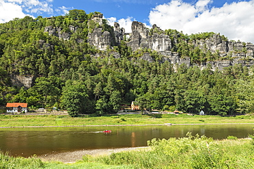 View over Elbe River to Bastei Bridge, Elbsandstein Mountains, Saxony, Germany, Europe