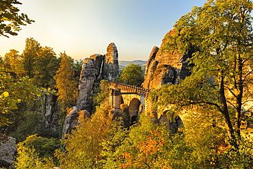 Bastei Bridge at sunrise, Elbsandstein Mountains, Saxony Switzerland National Park, Saxony, Germany, Europe