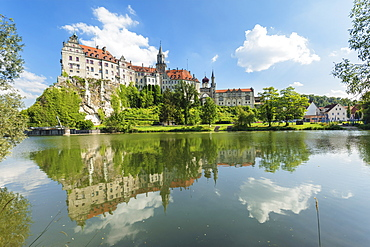 Sigmaringen Castle reflecting in Danube river, Upper Danube Valley, Swabian Jura, Baden-Wurttemberg, Germany, Europe