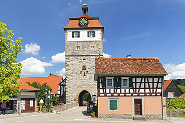Torturm Tower at the town wall, Vellberg, Hohenlohe, Baden-Wurttemberg, Germany, Europe