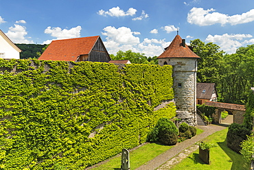 Sixischer Turm Tower on the town wall, Vellberg, Hohenlohe, Baden-Wurttemberg, Germany, Europe