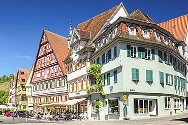 Cafe and Kielmeyer House at market place, Esslingen, Baden-Wurttemberg, Germany, Europe