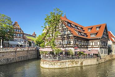 View over Wehrneckarkanal chanel to St. Dionys church, Esslingen am Neckar, Baden-Wuerttemberg, Germany, Europe