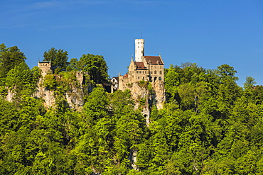 Lichtenstein castle, near Reutlingen, Swabian Jura, Baden-Wurttemberg, Germany, Europe