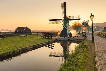 Traditional village at sunrise, Zaanse Schans, Zaandam, North Holland, Netherlands, Europe
