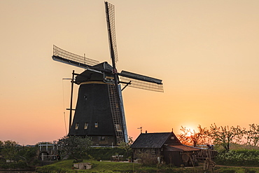 Windmill at sunset, Kinderdijk, UNESCO World Heritage Site, South Holland, Netherlands, Europe