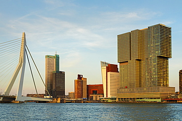 Erasmus Bridge over Nieuwe Maas River at sunset, Rotterdam, South Holland, Netherlands, Europe