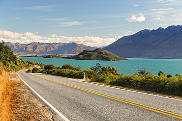 Road along Lake Wakatipu at sunset, Queenstown, Otago, South Island, New Zealand, Pacific