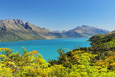 View over Lake Wakatipu to Thomson Mountains, Queenstown, Otago, South Island, New Zealand, Pacific